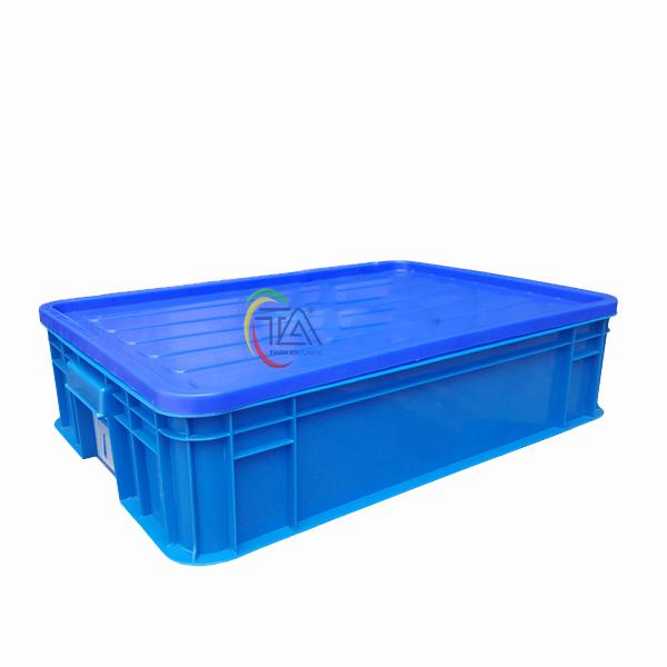 Thùng Nhựa Đặc Hs007|Sóng Bít 1T5 KT:610x420x150mm