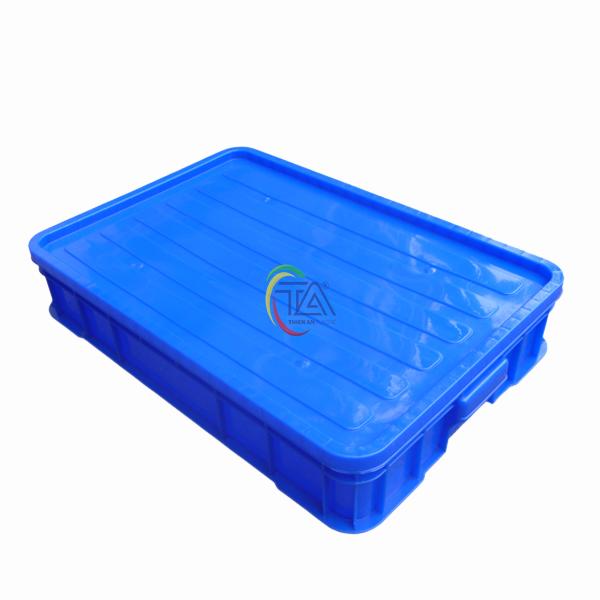 Thùng Nhựa Đặc HS025|Sóng Bít 1T KT 610x420x100mm