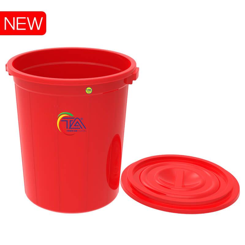 Thùng Nhựa Tròn Có Nắp 120 Lít  KT : 610x600xH680mm
