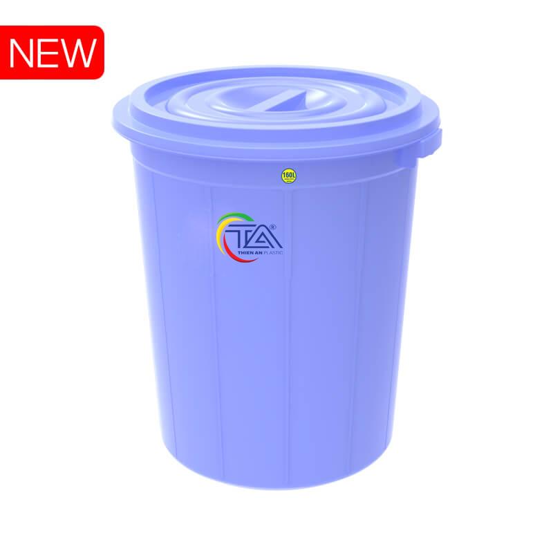 Thùng Nhựa Tròn Có Nắp 160 Lít  KT : 670x660xH750mm