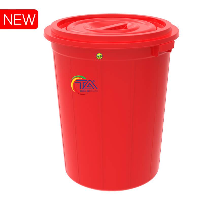 Thùng Nhựa Tròn Có Nắp 220 Lít  KT : 730x720xH855mm