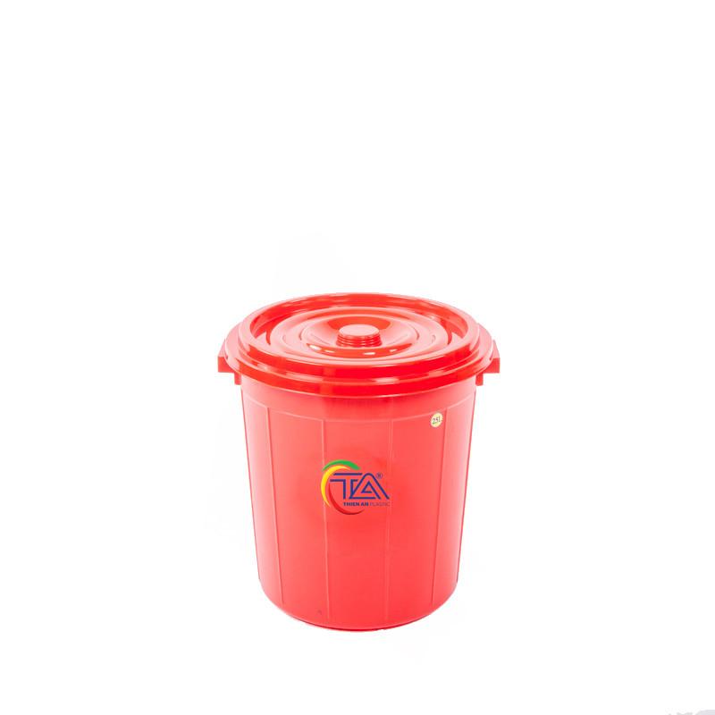 Thùng Nhựa Tròn Có Nắp 25 Lít KT : 365x355x380mm