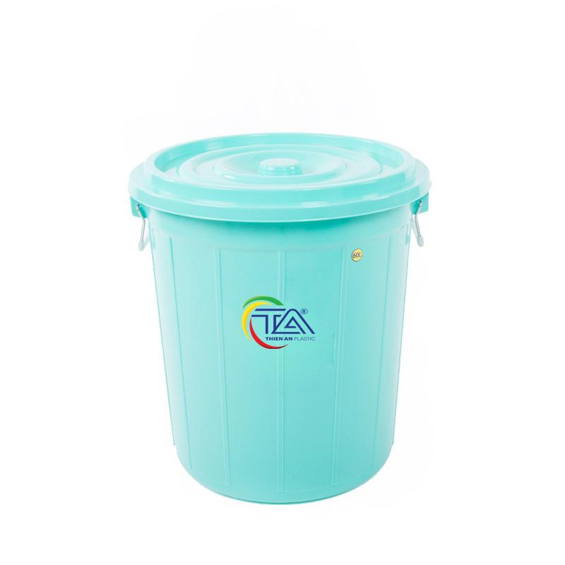 Thùng Nhựa Tròn Có Nắp 60 Lít   KT : 490x490xH520mm