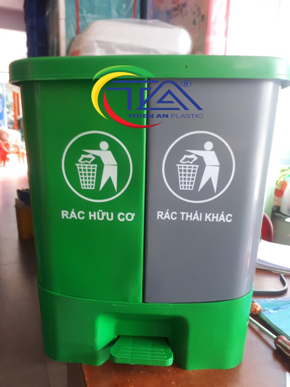 Thùng rác 2 ngăn đạp chân 40 lít