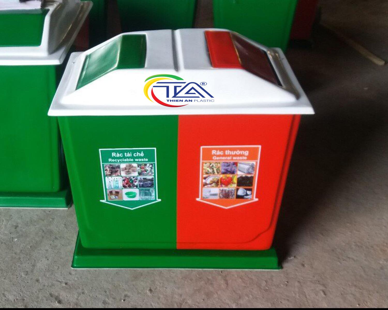 Thùng rác nhựa 2 ngăn