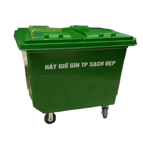 Thùng rác nhựa Composite 660 lít 4 bánh xe