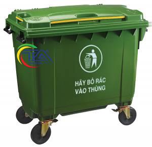 Thùng Rác Nhựa HDPE 660 Lít KT:1350x830x1110mm
