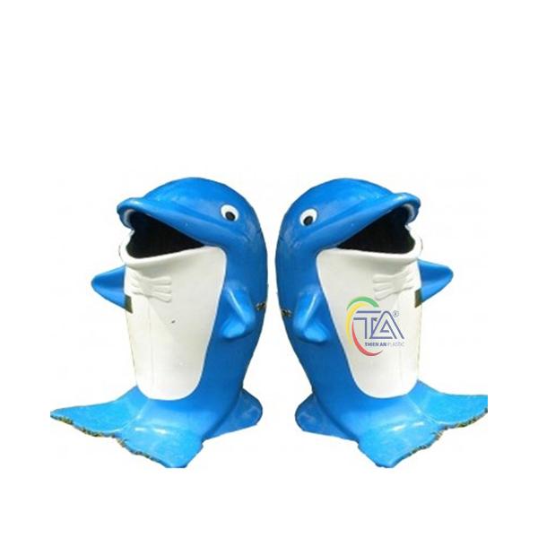 Thùng Rác Nhựa Hình Cá Heo KT: D450x950mm