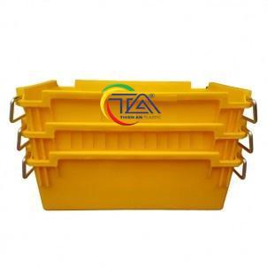 Thùng Nhựa Đặc A2 Xếp Chồng Màu Vàng