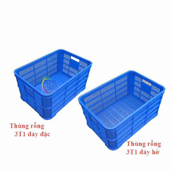Thùng Nhựa Rỗng 3T1|Sóng Hở 3T1 KT:610x420x310mm