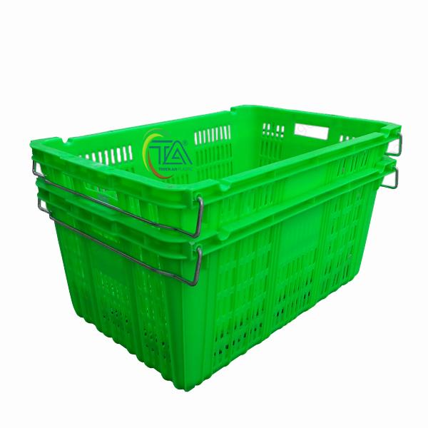 Thùng Nhựa Rỗng HS011|Sóng Hở Quai Sắt KT:715x465x330mm