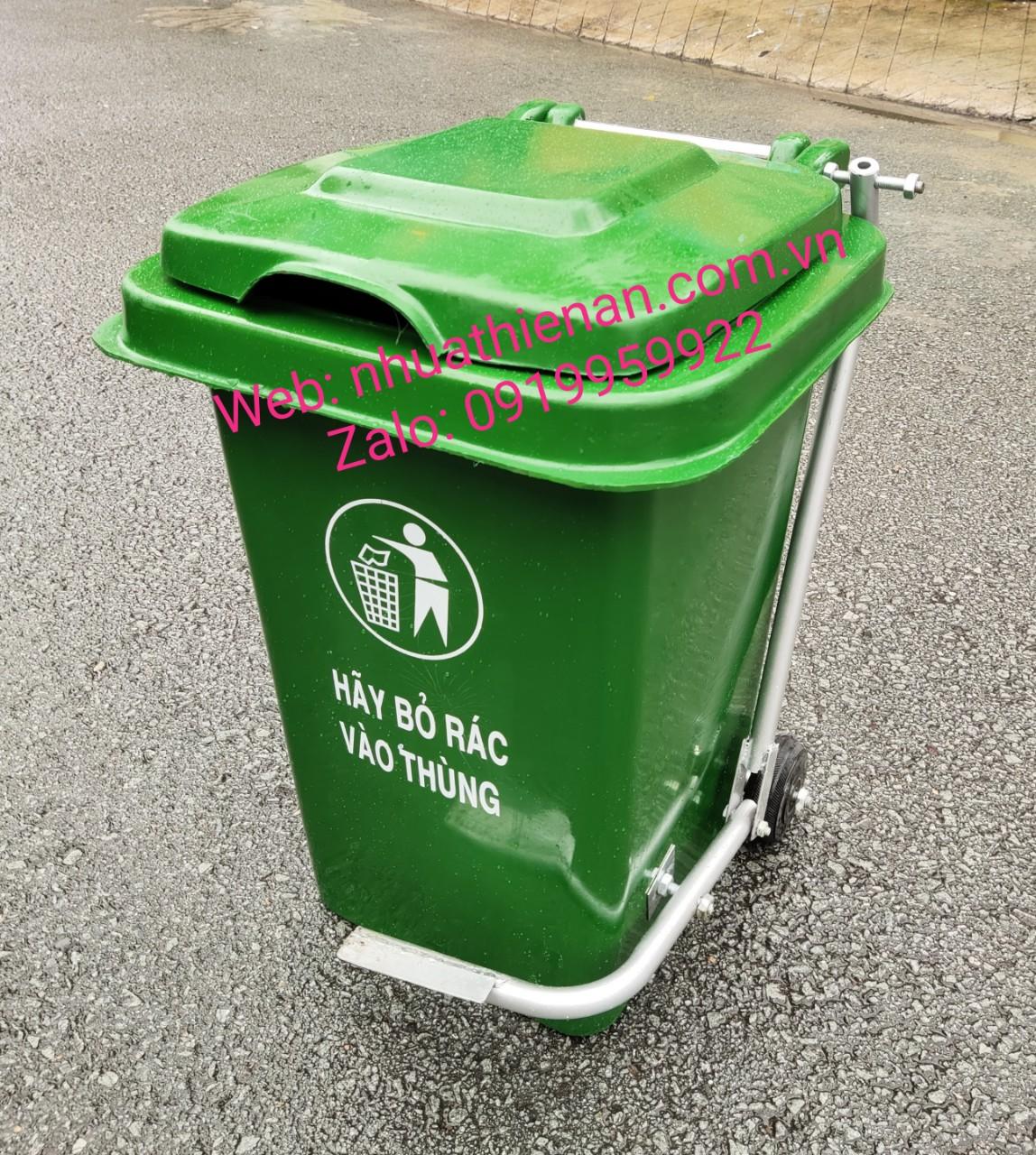 Thùng Rác Nhựa Composite 60 Lít Đạp Chân